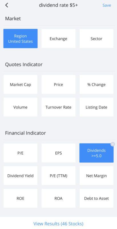 Webull Stock Screener: Dividend