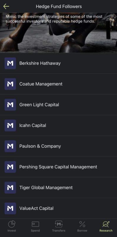 M1 Expert Pies: Hedge Fund Followers